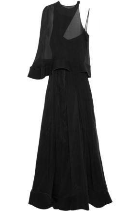 ESTEBAN CORTAZAR Neoprene-trimmed silk-chiffon gown