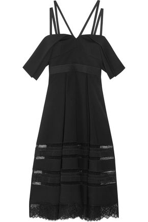 SEE BY CHLOÉ Cold-shoulder lace-trimmed crepe midi dress