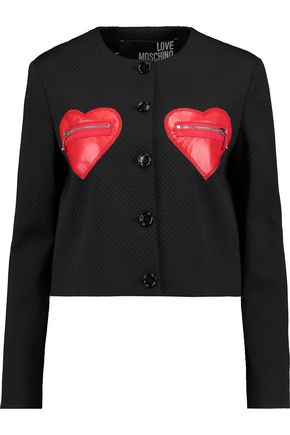 LOVE MOSCHINO Faux leather-paneled jacquard jacket
