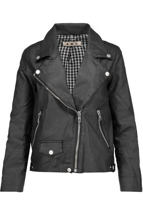 AMO Rizzo coated stretch-cotton biker jacket