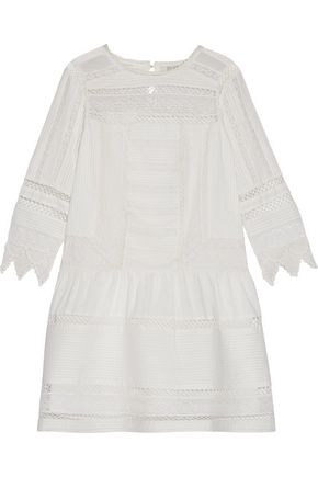 JOIE Amberly lace-paneled pintucked cotton-broadcloth mini dress
