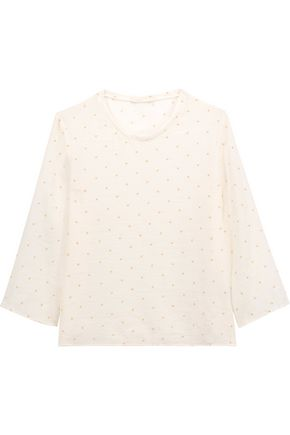 MAJE Lascard Swiss-dot crepe top