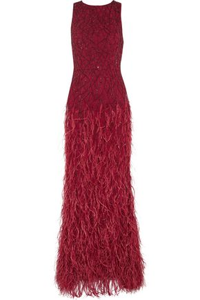 ALICE + OLIVIA Vaughn feather and sequin-embellished mesh gown