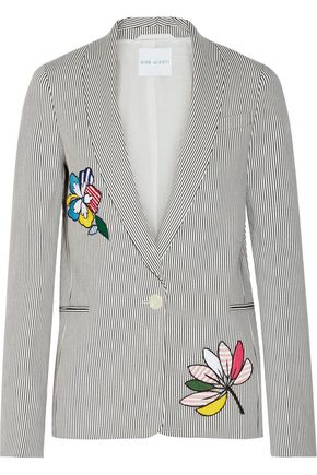 MIRA MIKATI Appliquéd striped stretch-cotton blazer