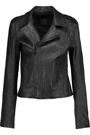 RTA Nico snake-effect leather biker jacket