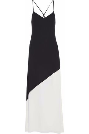 ALICE+OLIVIA Two-tone crepe de chine maxi dress
