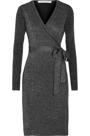 DIANE VON FURSTENBERG Evelyn metallic merino wool-blend wrap dress