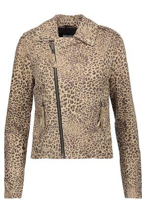 JOIE Ailey leopard-print suede biker jacket