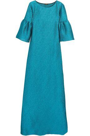 REEM ACRA Metallic cloqué gown