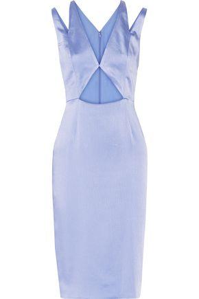 CUSHNIE ET OCHS Cutout crinkled silk-satin dress