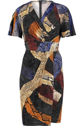 JUST CAVALLI Wrap-effect printed stretch-knit mini dress