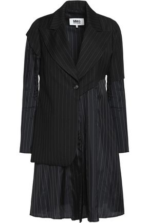 MM6 MAISON MARGIELA Paneled pinstriped wool-blend twill jacket