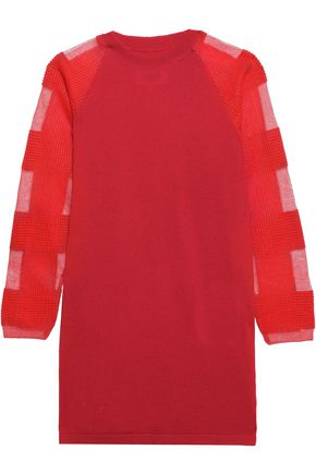 MM6 MAISON MARGIELA Bouclé mesh-paneled wool-blend mini dress