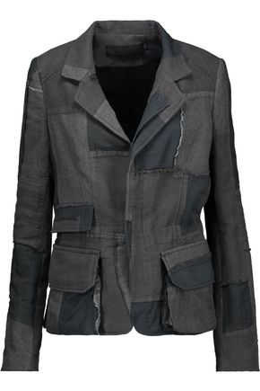 HAIDER ACKERMANN Distressed patchwork cotton and linen-twill jacket