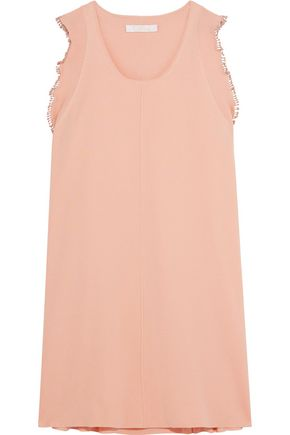 CHLOÉ Pompom-trimmed cotton and silk-blend dress
