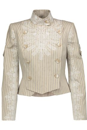 ZIMMERMANN Master Adorn embroidered striped-twill jacket