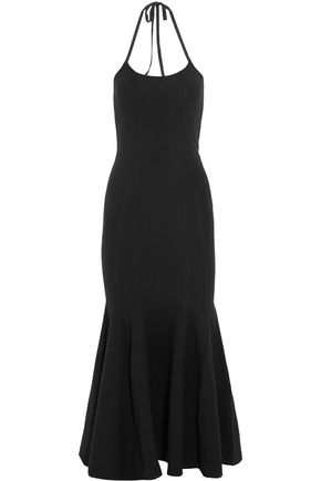 ANTONIO BERARDI Fluted stretch-knit halterneck maxi dress