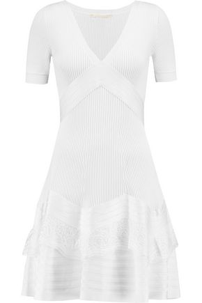 ANTONIO BERARDI Lace-paneled stretch-knit mini dress