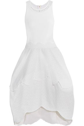 ANTONIO BERARDI Tiered broderie anglaise and crepe dress