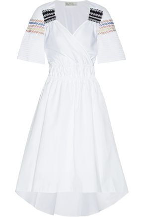 PETER PILOTTO Shirred cotton and silk-blend poplin midi dress