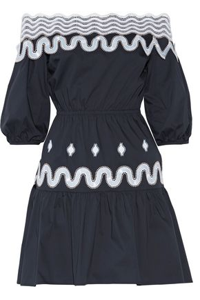 PETER PILOTTO Off-the-shoulder embroidered cotton-blend poplin dress