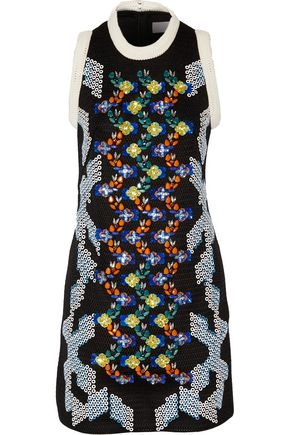 PETER PILOTTO Embellished neoprene mesh mini dress