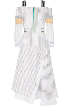 PETER PILOTTO Cold-shoulder striped cotton and silk-blend midi dress