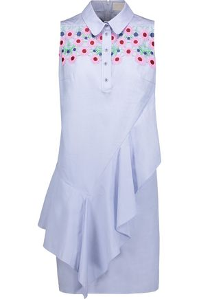 PETER PILOTTO Embroidered ruffled cotton-poplin dress