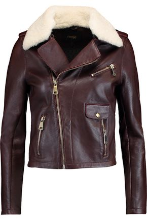 MAJE Shearling-trimmed leather jacket