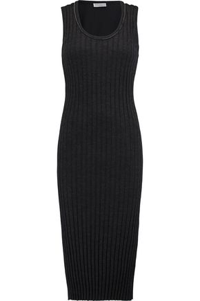 BRUNELLO CUCINELLI Bead-embellished ribbed cashmere midi dress