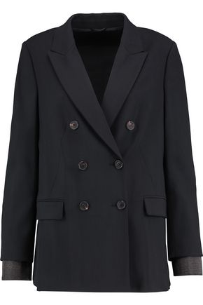 BRUNELLO CUCINELLI Double-breasted wool-blend crepe jacket