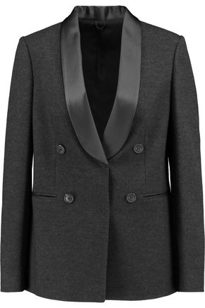 BRUNELLO CUCINELLI Double-breasted wool, cotton and silk-blend blazer