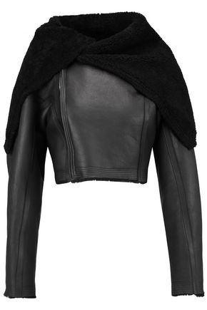 RICK OWENS Shearling-trimmed leather jacket