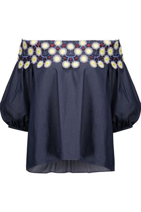 PETER PILOTTO Off-the-shoulder guipure lace-appliquéd cotton-chambray top