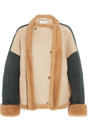 CHLOÉ Oversized shearling and quilted cotton-jersey jacket