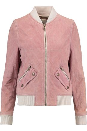 CHLOÉ Ribbed knit-trimmed quilted suede bomber jacket