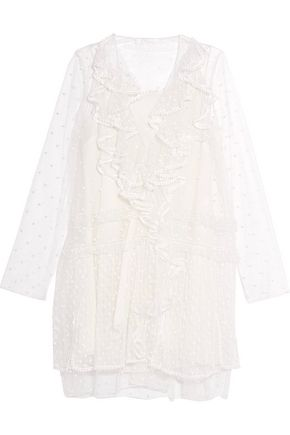 CHLOÉ Ruffled swiss dot-tulle mini dress