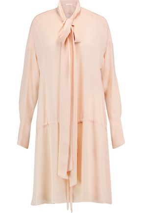 CHLOÉ Crepe-paneled silk dress