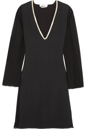 CHLOÉ Embellished crepe and silk-chiffon mini dress