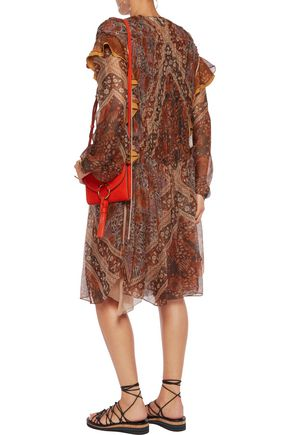 CHLOÉ Ruffle-trimmed printed silk-chiffon dress