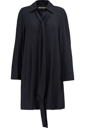 CHLOÉ Pussy-bow pleated cady dress