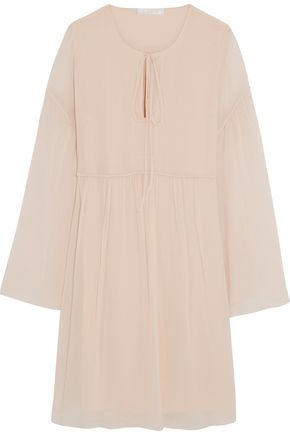 CHLOÉ Gathered cotton and silk-blend dress