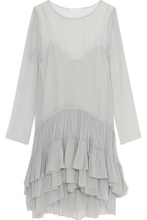 CHLOÉ Tiered ruffled silk dress