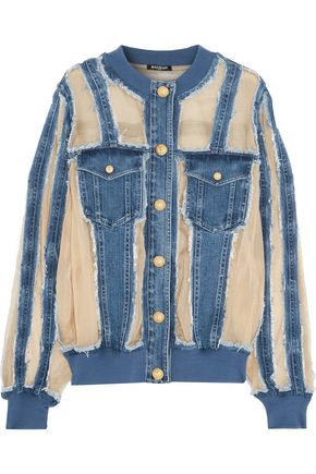 BALMAIN Silk organza-paneled frayed denim jacket