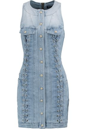 BALMAIN Lace-up faded denim mini dress