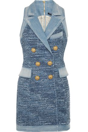 BALMAIN Denim-trimmed tweed mini dress