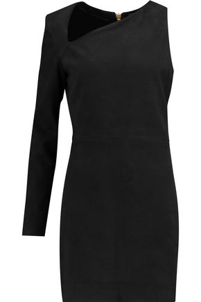 BALMAIN Asymmetric leather mini dress