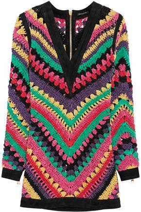 BALMAIN Crocheted leather mini dress