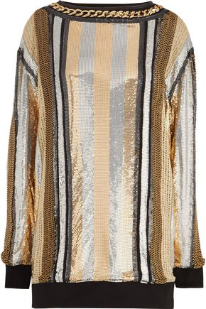 BALMAIN Embellished mesh mini dress