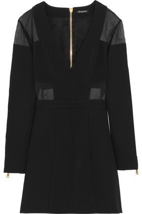 Chiffon Paneled Jersey Mini Dress by Balmain